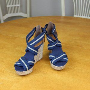 Merona Blue and Brown Cork Wedges size 7